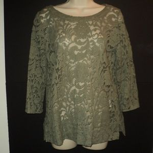 Chico's Size 0, XS (Runs Larger) Olive Green Top